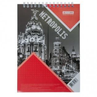 Купить Блокнот  А5 48л # м/о, верхняя спираль красный METROPOLIS BM.24545101-05 по низким ценам