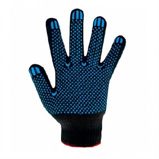 Купить Перчатки трикотажные с ПВХ  черные 10-й класс (4 нитки) 8411 по низким ценам