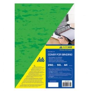 Купить Обложка для биндера А4, 250мкм (50шт/уп) картон, зеленая под кожу BM.0580-04 по низким ценам