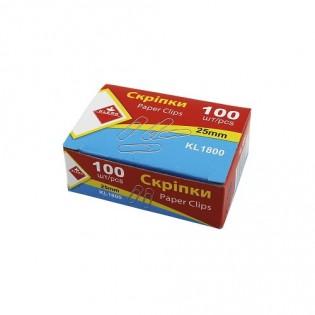 Купить Скрепки канцелярские 25мм (100шт) никелированные КL1800 по низким ценам
