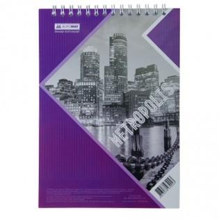 Купить Блокнот  А5 48л # м/о, верхняя спираль фиолетовый METROPOLIS BM.24545101-07 по низким ценам