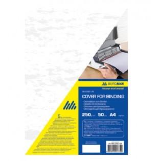 Купить Обложка для биндера А4, 250мкм (50шт/уп) картон, белая под кожу BM.0580-12 по низким ценам