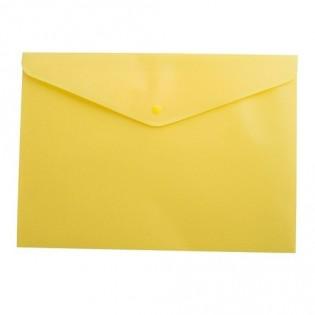 Купить Папка-конверт пласт. А5 на кноп, непрозр, желт. BM.3935-08 по низким ценам