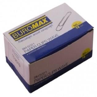 Купить Скрепки канцелярские 78мм (50шт) никелированные, рельефные BM.5021 по низким ценам